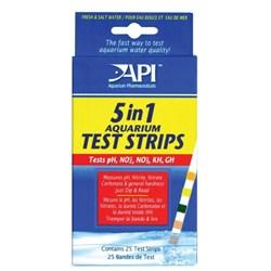 API Aquarium Test Strips 5 in 1 (25 полосок) - Полоски для экспресс-тестов аквариумной воды 5 в 1 - фото 17330