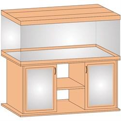 Aquaplus тумба прямая 150*50*70 бук, ДСП с 2 тонированными стеклянными дверцами МДФ - фото 18294