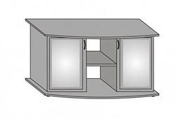 Aquaplus тумба фигурная 153*50*70, цвет ольха, с двумя тонированными стеклянными дверцами+МДФ - фото 18327