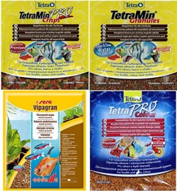 Hабор кормов в гранулах и чипсах - Sera Vipagran 12 г, TetraMin Granules 12 г, Tetra Min Pro crisps 12 г, Tetra PRO Colour 12 г. - фото 19617