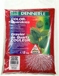Dennerle Color-Quarz - цветной аквариумный грунт, гравий фракции 1-2 мм, цвет красный, 5 кг. - фото 23774