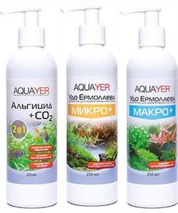 Aquayer - набор удобрений (Микро+, Макро+, Альгицид+СО2), 3 х 250 мл - фото 23810