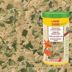 sera Goldy Nature 200 г (соответствует объёму 1 л) на развес - корм для золотых рыбок (хлопья) - фото 25042