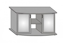 Aquaplus тумба фигурная 120*40*70, цвет выбеленный дуб, с двумя тонированными стеклянными дверцами+МДФ