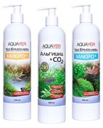 Aquayer - набор удобрений (Микро+, Макро+, Альгицид+СО2), 3 х 500 мл