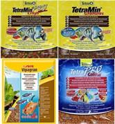 Hабор кормов в гранулах и чипсах - Sera Vipagran 12 г, TetraMin Granules 12 г, Tetra Min Pro crisps 12 г, Tetra PRO Colour 12 г.