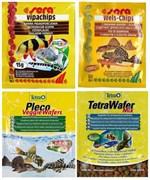 Hабор кормов для сомиков и донных рыб - Sera Vipachips, Sera Wels chips, Tetra Pleco Veggie Wafers, Tetra WaferMix