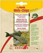 sera Wels chips Nature 15г (пакетик) - корм для лорикариевых сомов (присосок)