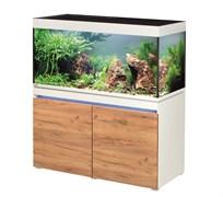 EHEIM incpiria 430л белый, фасады сосна  - комплект аквариум с тумбой, тумба с декоративной LED подсветкой