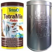 TetraMin 1л - универсальный корм для рыб с металлическим контейнером для корма (юбилей Tetra - 70 лет)